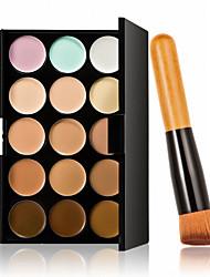 15 Farben Kontur Gesichtscreme Make-up Concealer Palette + 1 Stück hochwertige Puderpinsel