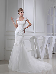 Trumpet/Mermaid Wedding Dress-Ivory Court Train Square Lace / Satin