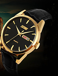 SKMEI men watches 2016 Gold Watch Dual Calendar waterproof Imported Quartz Wristwatch montre homme Gift idea