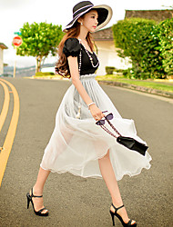 Women's Going out Beach Holiday Street chic Punk & Gothic Sophisticated Sheath False Two Piece Black and White DressColor Block Patchwork