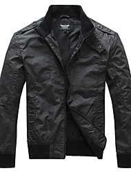 Lesmart Men's Stand Long Sleeve Jackets Black - MDME1202