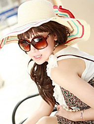 Women Straw Flowers Striped Floppy Hat,Cute / Party / Casual Spring / Summer / Fall