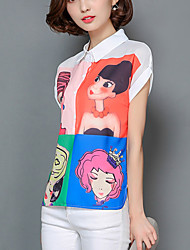 Women's Portraits Print White Chiffon Shirt,Work / Casual Cute Shirt Collar Short Sleeve Fashion Loose Thin Polyester