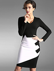 Baoyan® Women's V Neck Long Sleeve Above Knee Dress-150861