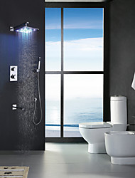 12 Inch Chrome Thermostatic LED Bathroom Bath Shower, LED 7 Colors Rainfall Shower Head With Brass Hand Shower And Spout