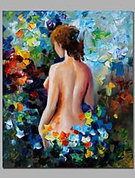 сексуальный красоты назад среди цветочного картины холст стиль handamde нож впечатление обрамлении