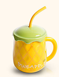 Creative Cute Hami Melon Style Drinking Straw Ceramic Mug Cup