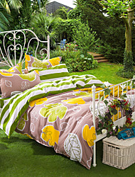 Autumn Leaves, High-end Full Cotton Reactive Printing Pastoral Flowers Bedding Set 4PC, FULL Size