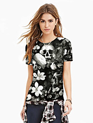 Women's Casual/Daily Street chic Summer Blouse,Print Round Neck Short Sleeve Black Polyester Medium
