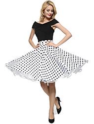 Damen Röcke - Übergröße Knielang Polyester Mikro-elastisch