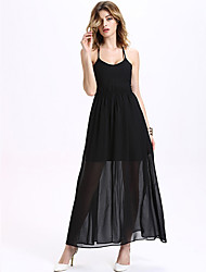 Women's Sexy / Simple Solid Chiffon Dress,Halter Maxi Polyester