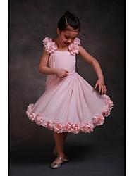 A-line Tea-length Flower Girl Dress-Chiffon Sleeveless