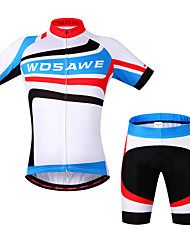 Wosawe® Cycling Jersey with Shorts Unisex Short Sleeve BikeBreathable / Quick Dry / Anatomic Design / Front Zipper / Back Pocket /