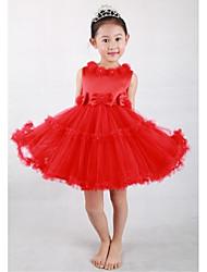 Ball Gown Knee-length Flower Girl Dress - Satin / Tulle Sleeveless Jewel with