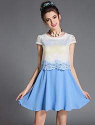 aofuli millésime taille de la, plus de femmes élégantes patchwork de dentelle creuse faux deux parties de pièce / robe quotidienne