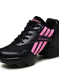 Women's Dance Shoes Fabric Fabric Dance Sneakers Split Sole Chunky Heel Practice More Colors