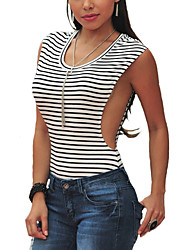 Women's Going out Sexy / Boho Summer T-shirt,Striped Round Neck Sleeveless White Rayon Thin