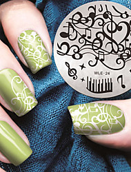 2016 Latest Version Fashion Pattern Music Note Nail Art Stamping Image Template Plates