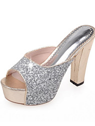 Women's Shoes Glitter Chunky Heel Heels Sandals Wedding / Party & Evening / Dress / Casual Black / Pink / Silver / Gold