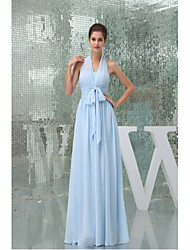 Floor-length Chiffon Bridesmaid Dress-Sky Blue A-line Halter