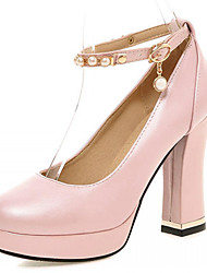 Women's Shoes Leatherette Chunky Heel Heels Heels Wedding / Office & Career / Party & Evening Blue / Pink / White