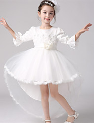 A-line Asymmetrical Flower Girl Dress - Cotton / Organza / Satin 3/4 Length Sleeve Jewel with