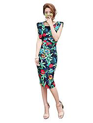 Women's Vintage Floral Sheath Dress,Round Neck Knee-length Rayon