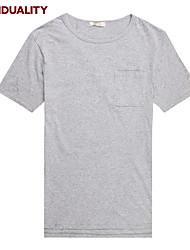 Trenduality® Hommes Col Arrondi Manche Courtes T-shirt Noir / Gris clair-63011