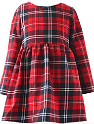 Girl's Red Dress,Stripes Cotton Spring / Fall