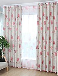 Deux Panneaux Moderne Floral / Botanique Rose chambre d'enfants Polyester Rideaux occultants rideaux