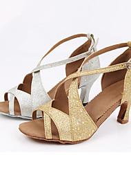 Customizable Women's Dance Shoes Latin Sparkling Glitter Customized Heel Silver / Gold