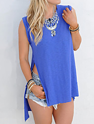 Women's Solid Blue T-shirt,Round Neck Sleeveless