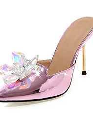 Women's Shoes Stiletto Heel Slingback / Pointed Toe Sandals Dress / Casual Purple / Red / White / Silver