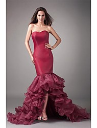 Fit & Flare Sweetheart Asymmetrical Organza Formal Evening Dress with Ruffles