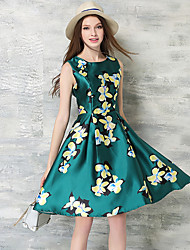 Women's Party/Cocktail Vintage A Line / Sheath Dress,Floral Round Neck Knee-length Sleeveless Green Silk Summer