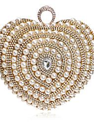 L.west Women Heart-shaped Pearl Diamonds Evening Bag