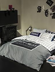 Gray plaid Duvet Cover Sets 100% Cotton Bedding Set Queen/Double/Full Size