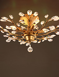 Crystal Ceiling Light Fitting Golden Color Mounted Ceiling Lamp de cristal Lustre for Living room Hotelroom