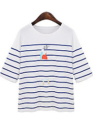 Tee-shirt Aux femmes,Rayé Décontracté / Quotidien Mignon Eté Manches Courtes Col Arrondi Blanc Coton Moyen