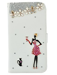 For iPhone 5 Case Card Holder / Rhinestone / with Stand / Flip / Pattern Case Full Body Case Sexy Lady Hard PU Leather iPhone SE/5s/5