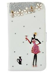 Pour Coque iPhone 5 Porte Carte Strass Avec Support Clapet Motif Coque Coque Intégrale Coque Femme Sexy Dur Cuir PU pour iPhone SE/5s/5