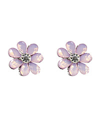 Fashion Women Stone Set Flower Stud Earrings