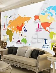 3d shinny Leder Effekt großes Wandtapete bunten Weltkarte Kunst-Wanddekor für TV Sofa Hintergrund Wand