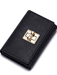 NUCELLE Women Real Genuine Cowhide Leather Purse Wallet Clutch Bag Lock Trifold Short -Black