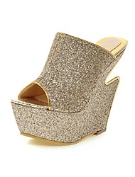 Women's Shoes PU Wedge Heel Peep Toe / Platform Sandals Dress / Casual Black / Silver / Gold