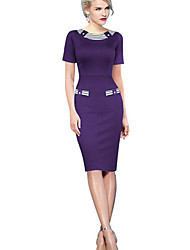 Aier Women's Color Block Blue / Green / Purple Dresses , Bodycon / Party Round Short Sleeve