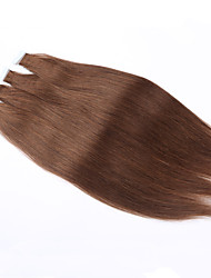 "16""PU Skin Weft PU Russian Cuticle Human Hair Extensions Black Brown Blonde Hand Tied Straight Weft Tape Hair Extension"