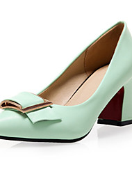 Women's Shoes Leatherette Chunky Heel Heels Heels Wedding / Party & Evening / Dress / Casual Black / Green / White