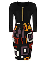 Gaine Robe TravailGéométrique V Profond Au dessus du genou Manches ¾ Noir Polyester / Spandex Printemps / Automne / Hiver Taille Normale