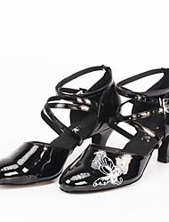 Customizable Women's Latin Ballroom Dance Shoes Modern Flower Customized Heel Black Shoes